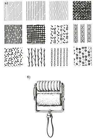отделка поверхностей штрихами и мелким узором